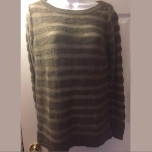 BB DAKOTA Striped Knit Sweater olive green